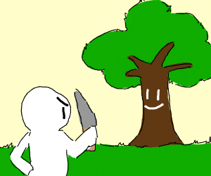 man angry at tree, holds knife