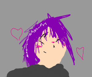 Purple haired girl is in love!