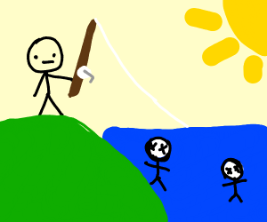 Fishing into lake of dead floating bodies