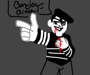 A man mimes returning fire after being shot