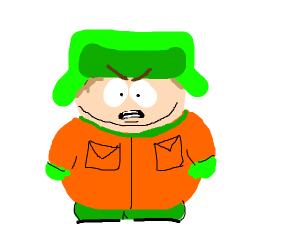 Angry Cartman wearing Kyles clothes