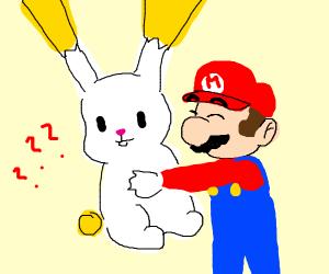 Mario is huging giant rabbit