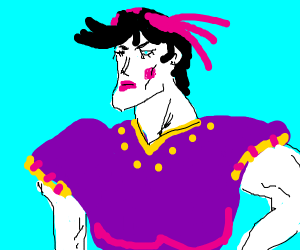 manliest man in dress w makeup and hair clip