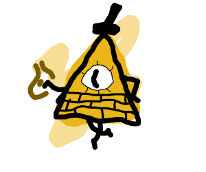 bill cipher with bottle