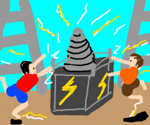 Two men touch an electricity building