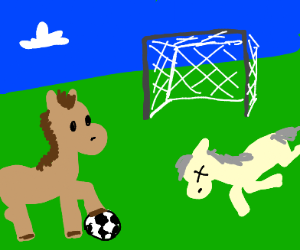 Horse plays soccer with dead hose