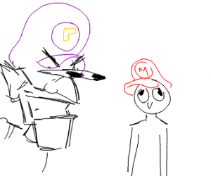 Waluigi stares at a kid with a mario hat