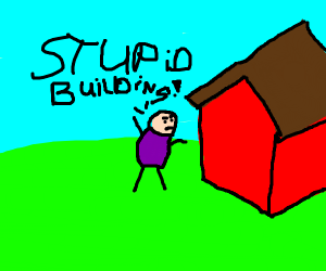 angry man no like red building