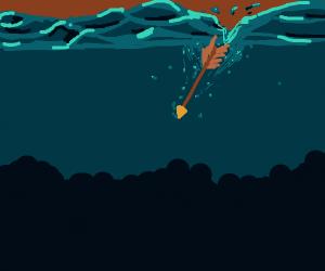 Arrow into the underwater depths