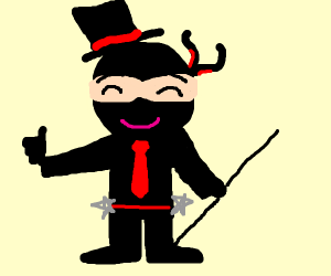 Fancily dressed ninja gives me a thumbs up.