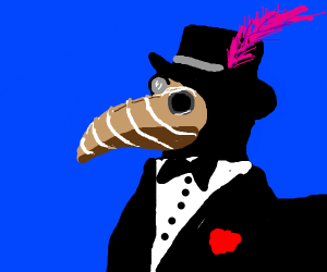 Fancy plauge doctor with Brown and white mask