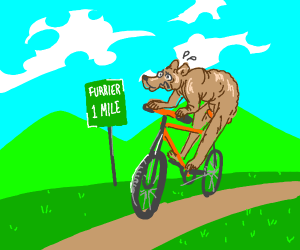 Shaved bear on a bike