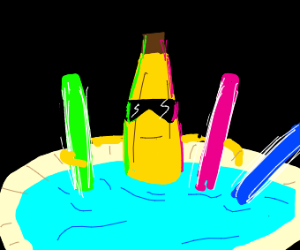 banana guy luvs being surrounded byglowsticks