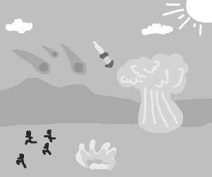 mountain in grey apocalypse