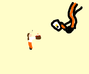 Chell gives GLaDOS a cake C: