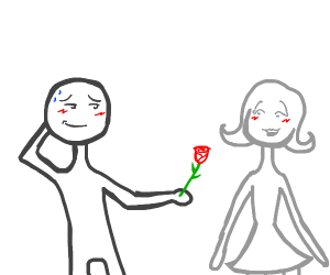 blushing man hands green red thing to woman