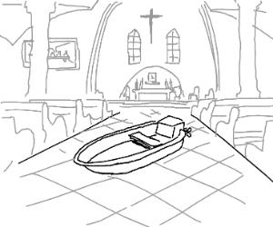 a boat in a church