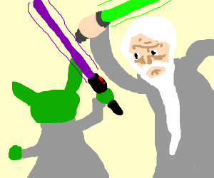 yoda vs old man in a light saber battle yo