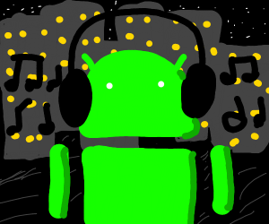 android listening to music in city