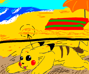 Pikachu digs underground on the beach