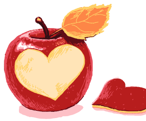red apple with heart cut out