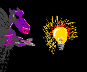 Evil dragon and a lightbulb