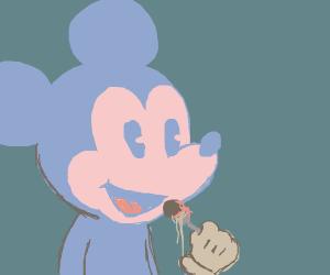 Mickey Mouse eats food