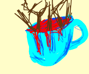 trees in a blue coffe cup
