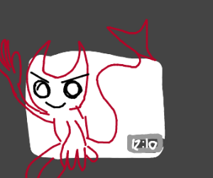Devil coming out of a thumbnail