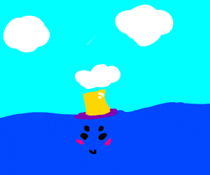 a blushing sea with a purple and gold top hat