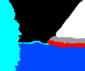 Titanic about to crash into the iceberg