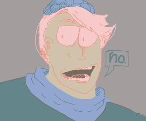 Guy with pink hair and beanie says no