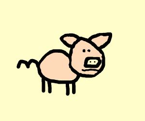 Pig with 3 for a tail
