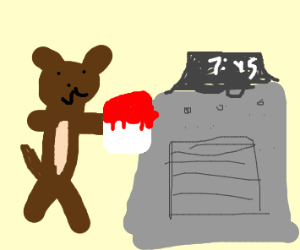A dog putting a cake in the oven