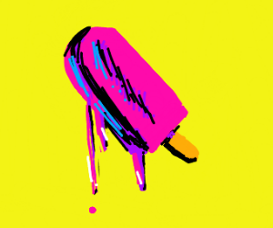 A. Warhol style drawing of popsicle under sun