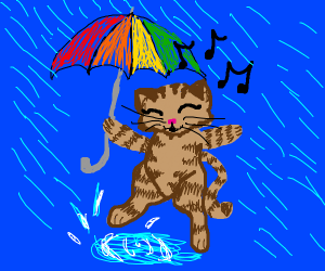 singing cat with umbrella
