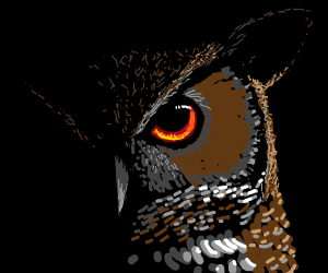 Evil owl in the shadows.