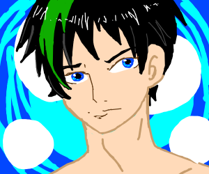 A green and black haired anime boi