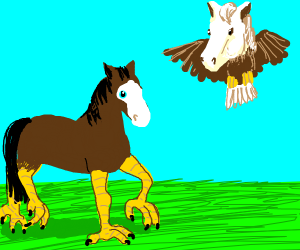 An eagle and horse's children