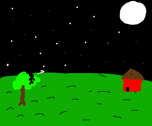 Tiny person standing on tree looking at moon