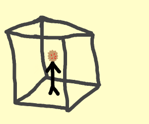 Pie face man stuck in a cube
