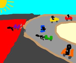 Kids on karts racing.