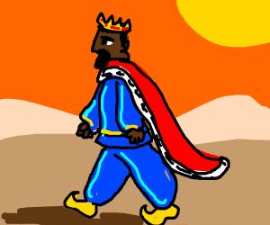 King walking through the desert