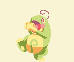 happy frog with a single curly strand of hair