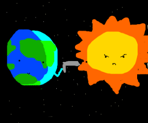 Earth shoots the Sun with a gun, Sun annoyed
