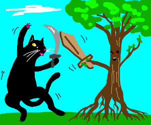 A cat fighting a tree