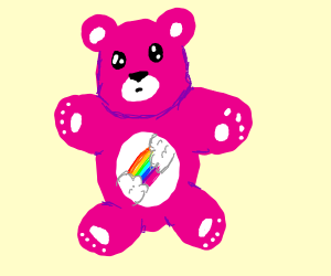 pink teddy bear with rainbow on belly