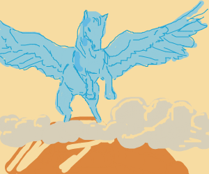 blue pegasus on a hill