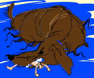 Fat spider dog eats man