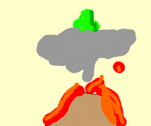 a frog sitting on a ash cloud?